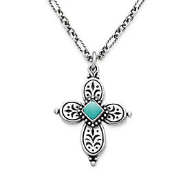 Festive Beaded Cross with Turquoise on Medium Cable Figaro Chain