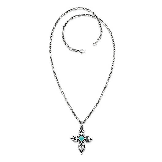 View Larger Image of Festive Beaded Cross with Turquoise on Medium Cable Figaro Chain