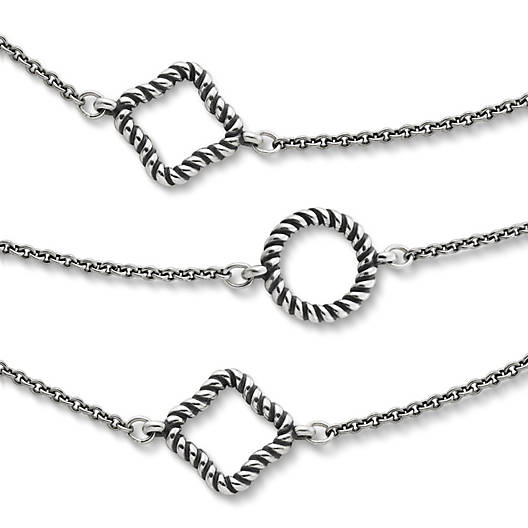 View Larger Image of Twisted Rope Circles & Squares Necklace