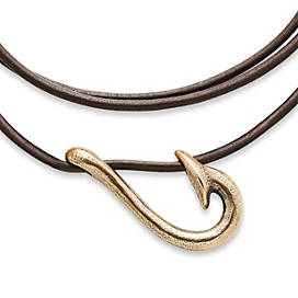 Fish Hook Leather Necklace