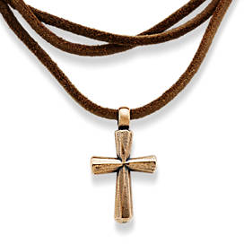 Rustic Bronze Cross Leather Necklace