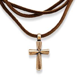Religious spiritual cross jewelry james avery rustic bronze cross leather necklace aloadofball Images