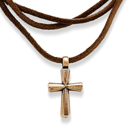 View Larger Image of Rustic Bronze Cross Leather Necklace