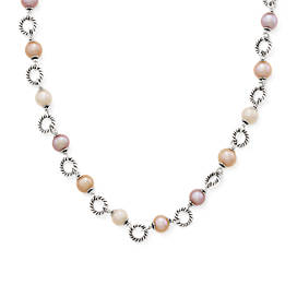 Twisted Wire Link Necklace with Multi-Colored Cultured Pearls