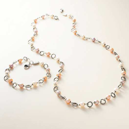 View Larger Image of Twisted Wire Link Necklace with Multi-Colored Cultured Pearls