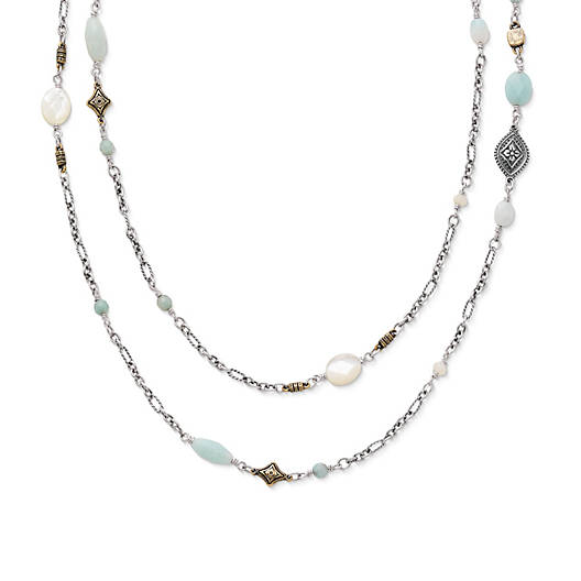 View Larger Image of Tessares Necklace with Amazonite and Mother of Pearl