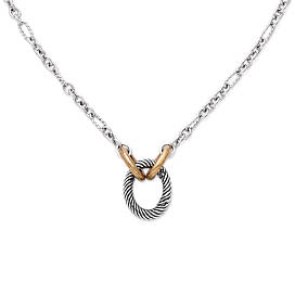 Oval Twist Changeable Charm Holder Necklace