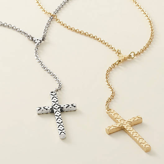 View Larger Image of Floral Latin Cross Necklace