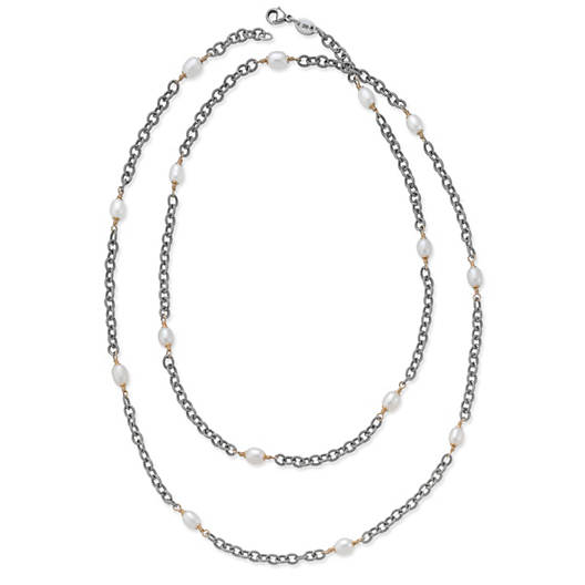 View Larger Image of Twisted Wire Necklace with Cultured Pearls
