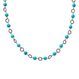 Twisted Wire Link Necklace with Turquoise