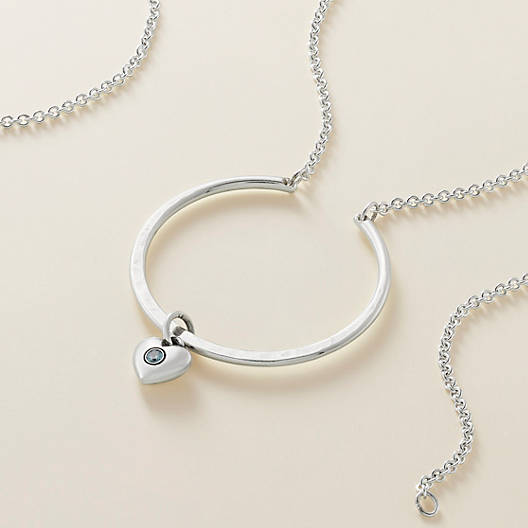 View Larger Image of Hammered Circle Changeable Charm Holder Necklace
