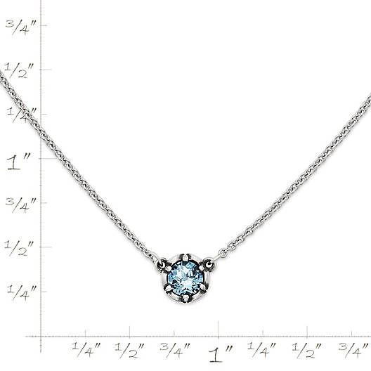 View Larger Image of Cherished Birthstone Necklace with Lab-Created Aqua Spinel