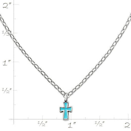 View Larger Image of Enamel Petite Blue Cross Necklace