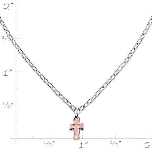 View Larger Image of Enamel Petite Pink Cross Necklace