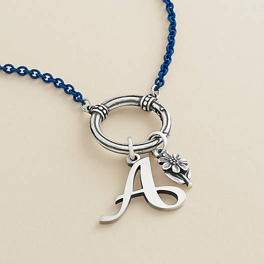 View Larger Image of Enamel Blue Beaded Changeable Charm Holder Necklace