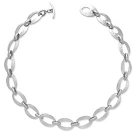 Oval Hammered Link Necklace