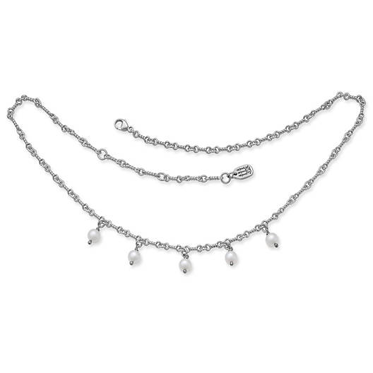 View Larger Image of Twisted Link Cultured Pearl Drop Necklace