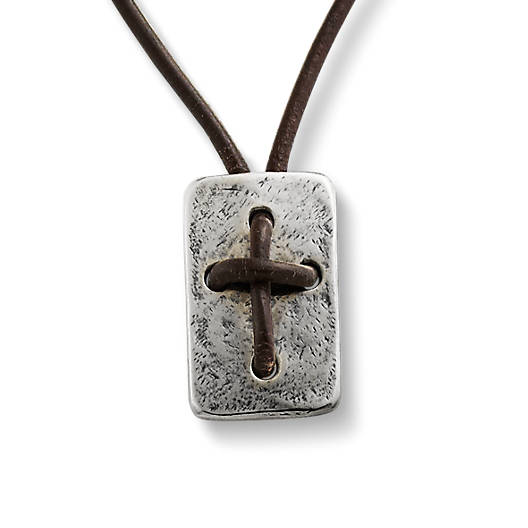 View Larger Image of Leather Cross Shield Necklace