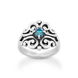 Spanish Lace Ring with Blue Topaz