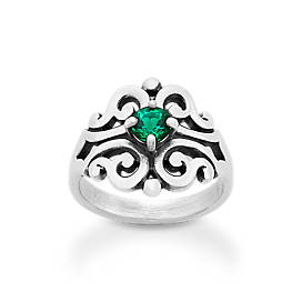Spanish Lace Ring with Lab-Created Emerald