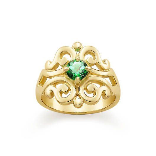 View Larger Image of Spanish Lace Ring with Lab-Created Emerald