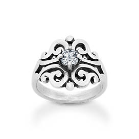 Spanish Lace Ring with Lab-Created White Sapphire