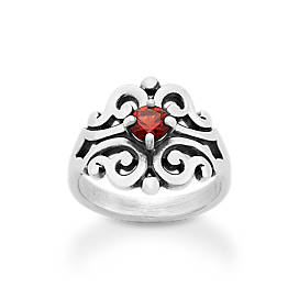 Spanish Lace Ring with Garnet