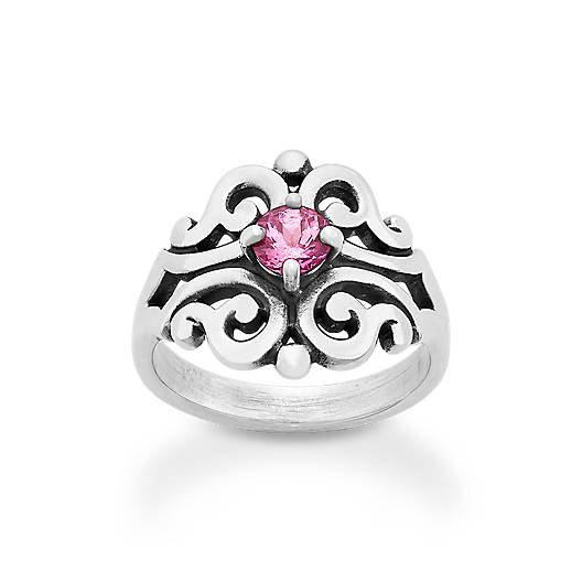 View Larger Image of Spanish Lace Ring with Lab-Created Pink Sapphire