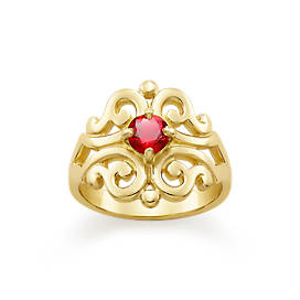 Spanish Lace Ring with Lab-Created Ruby