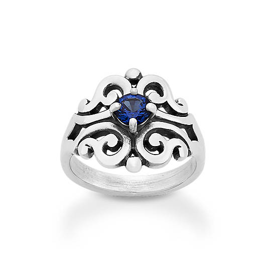 Spanish Lace Ring with Lab-Created Blue Sapphire