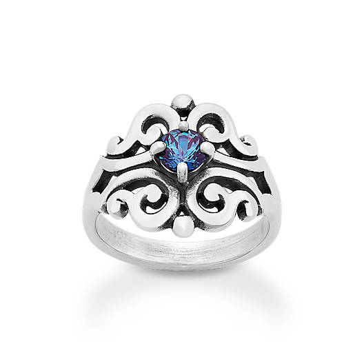 View Larger Image of Spanish Lace Ring with Lab-Created Alexandrite