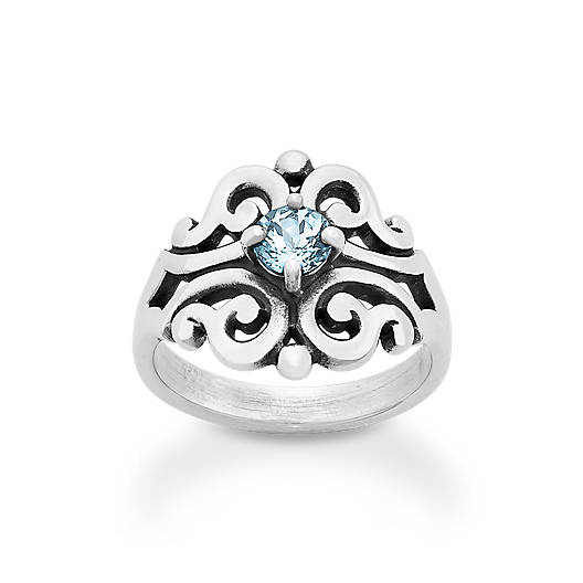 View Larger Image of Spanish Lace Ring with Lab-Created Aqua Spinel