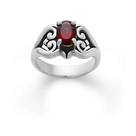 Scrolled Heart Ring with Garnet