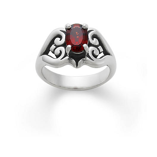 View Larger Image of Scrolled Heart Ring with Garnet