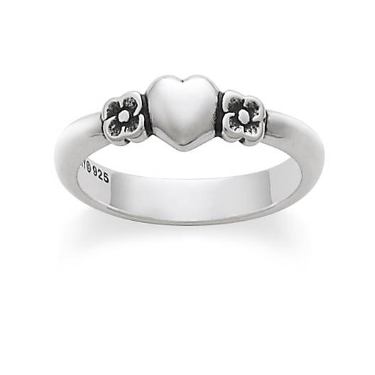 View Larger Image of Heart with Two Flowers Ring