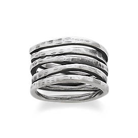 Stacked Hammered Ring