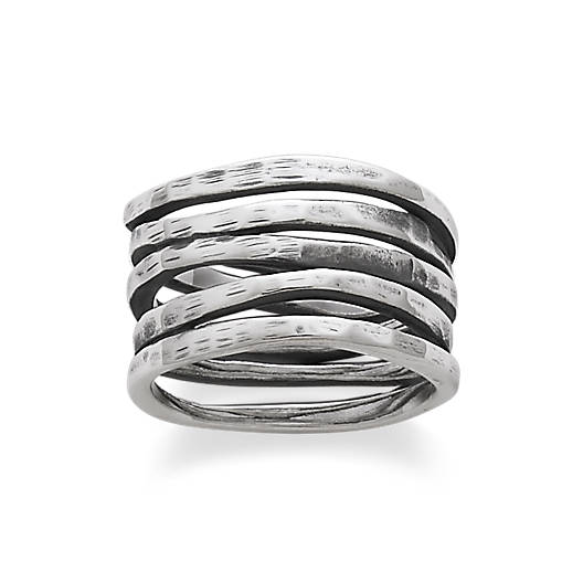 View Larger Image of Stacked Hammered Ring