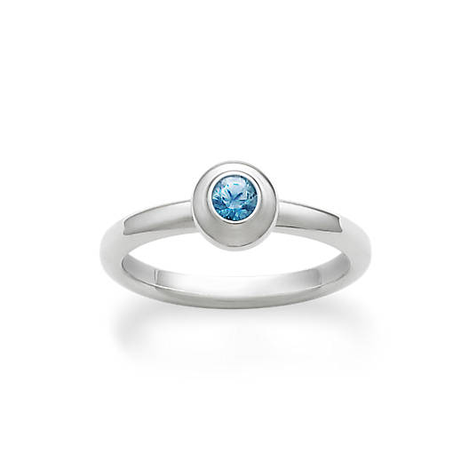 View Larger Image of Avery Remembrance Ring with Blue Zircon