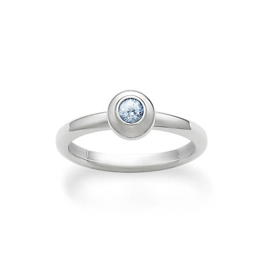 View Larger Image of Avery Remembrance Ring with Lab-Created Aqua Spinel
