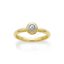 Avery Remembrance Ring with Lab-Created Aqua Spinel