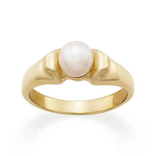 Scroll Ring with Cultured Pearl