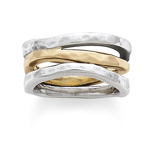 View Larger Image of Sterling Silver & Gold Stacked Hammered Ring