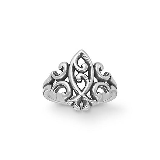scrolled flowers scrolled ichthus ring james avery