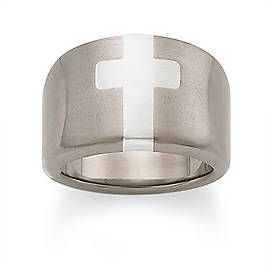 Titanium Ring with Sterling Silver Cross