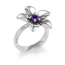 Flower Ring with Amethyst