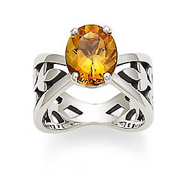 Adorned Floral Ring with Citrine