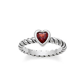 Heart with Garnet Twisted Wire Ring