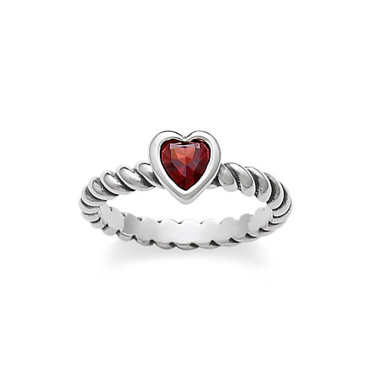 View Larger Image of Heart with Garnet Twisted Wire Ring
