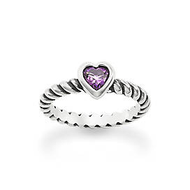 Heart with Amethyst Twisted Wire Ring