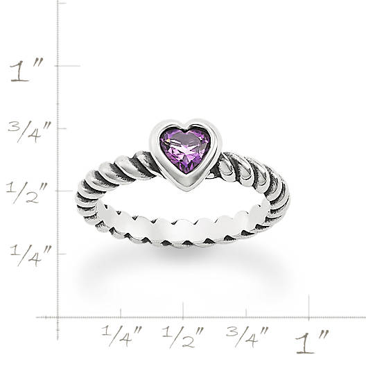 View Larger Image of Heart with Amethyst Twisted Wire Ring